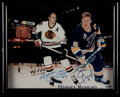 Hockey Collectibles:Photos, Bobby and Brett Hull Signed Oversized Photograph....
