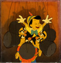 Animation Art:Production Cel, Pinocchio Pinocchio and Russian Cossack Puppet DancersCourvoisier Production Cel Setup (Walt Disney, 1940)....