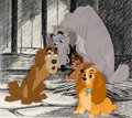 Animation Art:Production Cel, Lady and the Tramp Lady and the Pound Dogs Production CelSetup (Walt Disney, 1955).... (Total: 3 Original Art)