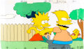"""Animation Art:Production Cel, The Simpsons (The Tracey Ullman Show) """"Skateboarding""""Production Cel Setup (Fox, 1988).... (Total: 2 )"""
