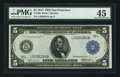Fr. 888 $5 1914 Federal Reserve Note PMG Choice Extremely Fine 45