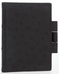 "Luxury Accessories:Accessories, Hermes Black Ostrich Vision PM Agenda Cover. Very GoodCondition. 3"" Width x 4 Height. ..."