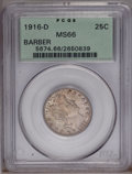 Barber Quarters: , 1916-D 25C MS66 PCGS. Dappled golden-brown and powder-blue tones bathe this lustrous and reasonably preserved final year pi...