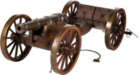 Fine 19th Century European Model Brass Cannon, Wood Carriage and Caisson