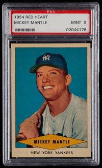 1954 Red Heart Mickey Mantle PSA Mint 9