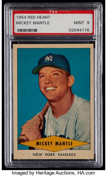 1954 Red Heart Mickey Mantle Psa Mint 9 Baseball Cards