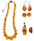 Estate Jewelry:Lots, Amber, Silver Jewelry. ...