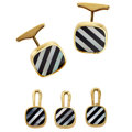 Estate Jewelry:Lots, Mother-of-Pearl, Black Onyx, Gold Dress Set. ...