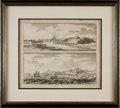 Books:Maps & Atlases, [Maps]. Framed Engraving Depicting Ardres and Boulogne, in France. [n.d., circa 1657]. . . ...