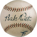 Baseball Collectibles:Balls, 1928 Babe Ruth, Lou Gehrig & Miller Huggins Signed Baseball, PSA/DNA NM-MT 8....