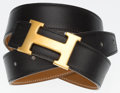 "Luxury Accessories:Accessories, Hermes 85cm Black & Gold Calf Box Leather Reversible H Beltwith Gold Hardware. Good to Very Good Condition. 1"" Width x35..."