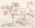 """Animation Art:Production Drawing, Goofy The Reluctant Dragon """"How To Ride A Horse"""" Animation Drawing (Walt Disney, 1941)...."""