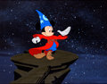 "Animation Art:Production Cel, Mickey Mouse ""Sorcerer's Apprentice"" Production Cel with Background(Walt Disney, 1983)...."