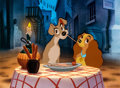 "Animation Art:Limited Edition Cel, Lady and the Tramp ""Bella Notte"" Limited Edition Cel#435/500 (Walt Disney, 1990)...."