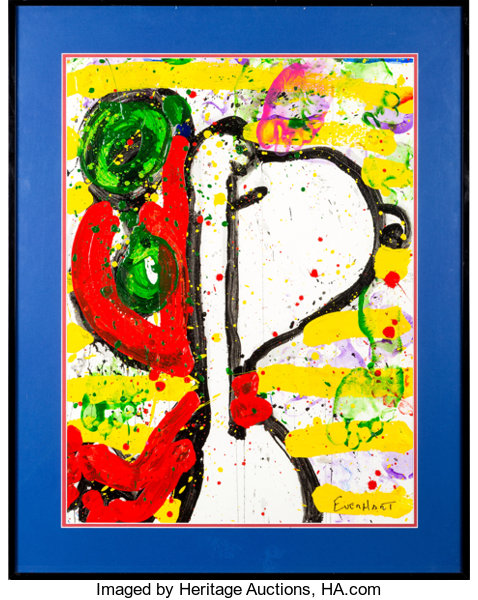Tom Everhart 76 Dog Salute Snoopy As Wwi Flying Ace Painting C
