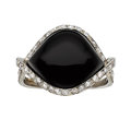 Estate Jewelry:Rings, Art Deco Black Onyx, Diamond, White Gold Ring. ...
