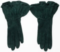 Luxury Accessories:Accessories, Hermes Vert Emerald Veau Doblis Suede Gloves. GoodCondition. Size 7. ...