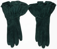 Hermes Vert Emerald Veau Doblis Suede Gloves Good Condition Size 7