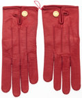 Luxury Accessories:Accessories, Hermes Vermillion Agneau Leather Gloves with Gold Hardware. GoodCondition. Size 7. ...