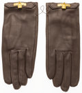 Luxury Accessories:Accessories, Hermes Toundra Agneau Leather Gloves with Gold Hardware. VeryGood Condition. Size 7. ...