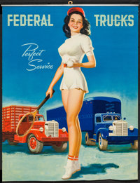 "Perfect Service by K.O. Munson (Federal Trucks, 1950s). Trimmed Pinup Calendar (16"" X 20.75""). Miscellaneous..."