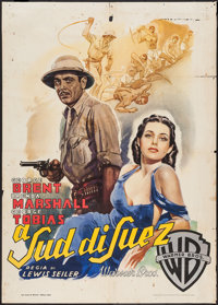 "South of Suez (Warner Brothers, 1948). First Post-War Release Italian 2 - Foglio (39.25"" X 55""). Mystery"