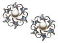 Estate Jewelry:Earrings, Cultured Pearl, Sapphire, White Gold Earrings. ...