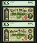 Large Size:Legal Tender Notes, Fr. 61a $5 1862 Legal Tender Low Serial Number Cut Sheet of FourPCGS Choice About New 58PPQ. . ... (Total: 4 notes)