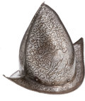 Militaria:Helmets, 18th Century Etched Morion-Cabasset Helmet, Possibly Italian....
