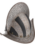 Militaria:Helmets, Victorian Black and White Style Morion Helmet, Probably Spanish....