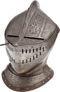 Militaria:Helmets, An Etched Closed Helmet in the 16th Century Style....
