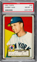 Baseball Cards:Singles (1950-1959), 1952 Topps Johnny Sain (Correct Bio, Red Back) #49 PSA NM-MT 8....