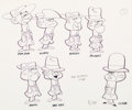 animation art:Model Sheet, Willie Ito The Perils of Penelope Pitstop Ant Hill Mob SizeComparison Model Sheet (Hanna-Barbera, 1969)....