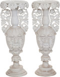 Decorative Arts, Continental:Other , A Pair of Continental Figural Bisque Vases. 35 inches high (88.9cm). ... (Total: 2 Items)