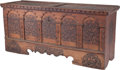 Furniture : Continental, A Swiss Polychromed Graubuenden Walnut Blanket Chest, 17th centuryin part. 31-3/4 inches high x 70 inches wide x 23-1/2 inc...