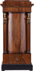 Furniture : English, A Biedermeier-Style Mahogany and Gilt Bronze Figural Cabinet, last half 19th century. 51-3/4 inches high x 25 inches wide x ...