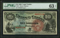 Large Size:Legal Tender Notes, Fr. 96 $10 1869 Legal Tender PMG Choice Uncirculated 63 EPQ.. ...
