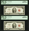 Fr. 1514 $2 1963A Legal Tender Notes. Two Consecutive Examples. PCGS Gem New 66PPQ