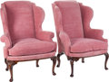 Furniture , A Pair of George III-Style Upholstered Walnut Wingback Chairs, circa 1900. 43 inches high x 33 inches wide x 24 inches deep ... (Total: 2 Items)
