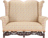 A Charles II-Style Upholstered Settee, circa 1900 52 inches high x 64 inches wide x 28 inches deep (132.1 x 162.6