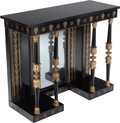 Furniture , A Regency Ebonized Wood and Brass Inlay Console Table with Marble Top, in the manner of George Oakley, early 19th century. 3... (Total: 2 Items)