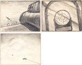 Animation Art:Production Drawing, Disney Goes to War Storyboard Drawings (Walt Disney,1940s)....(Total: 3 )