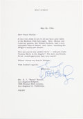 Animation Art:Limited Edition Cel, Walt Disney Signed Letter To Buzzi Bavasi (Walt Disney, 1962)....