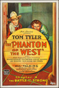 "Movie Posters:Serial, The Phantom of the West (Mascot, 1931). One Sheet (27"" X 41"")Chapter 4 -- ""Battle of the Strong."" Serial.. ..."
