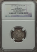 Bust Dimes, 1814 10C Small Date, JR-1, R.3, -- Improperly Cleaned -- NGCDetails. XF. Ex: Hilt Collection. NGC Census: (1/29). PCGS Pop...