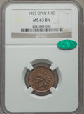 Indian Cents, 1873 1C Open 3 MS63 Brown NGC. CAC. NGC Census: (11/30). PCGS Population (58/47). Numismedia Wsl. Price for problem free N...