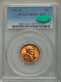 Lincoln Cents: , 1953-D 1C MS66+ Red PCGS. CAC. PCGS Population (1119/41). NGCCensus: (1597/134). Mintage: 700,515,008. Numismedia Wsl. Pri...