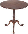 Furniture : American, A Georgian-Style Walnut Tilt-Top Tea Table, late 19th century.28-1/4 inches high x 28-1/2 inches diameter (71.8 x 72.4 cm)...