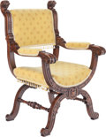 Furniture : Continental, A Renaissance Revival Carved Oak and Upholstered Chair, circa 1900. 40-1/2 inches high x 25 inches wide x 20 inches deep (10...