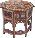 Furniture : Continental, A Moorish Hardwood Folding Side Table with Mother-of-Pearl and BoneInlay, 20th century. 27-1/2 inches high x 29-1/4 inches ...